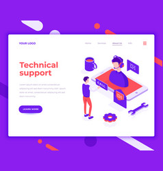technical support people and interact with vector image