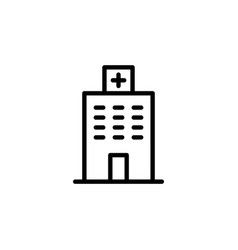 Thin line hospital icon on white background vector