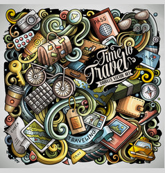 travel hand drawn doodles vector image