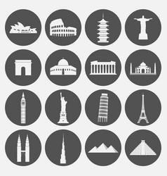 Travel landmarks icon set vector