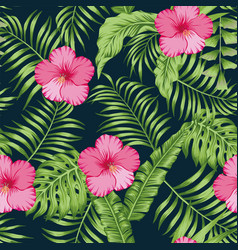 tropical leaves and hibiscus seamless dark blue vector image