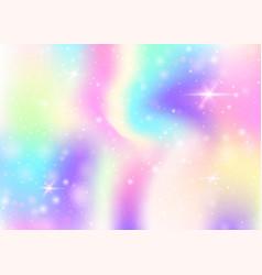 unicorn background with rainbow mesh vector image