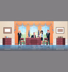 United states president sitting workplace signing vector