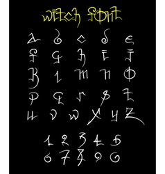 Witch font and numbers vector
