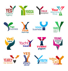 y letter corporate identity business icons vector image