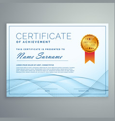 abstract certificate award design tempate with vector image vector image