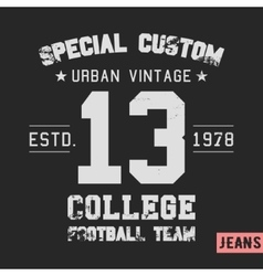 College team vintage stamp vector