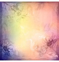Grunge vintage sketch flowers background vector image vector image