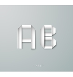 paper origami alphabet a b with shadows vector image