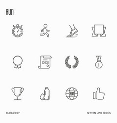set of running competition thin line icons vector image