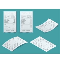 Set Paper check and financial check isolated vector image vector image