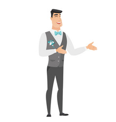 young caucasian happy groom gesturing vector image
