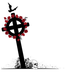 crucifix raven scull and roses vector image