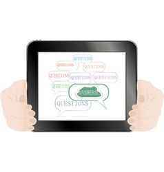 hands holding tablet pc Isolated on white vector image vector image