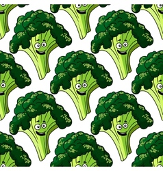 Head of fresh healthy broccoli seamless pattern vector image