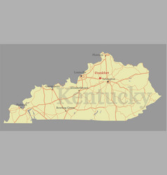 Kentucky accurate exact detailed state map with vector