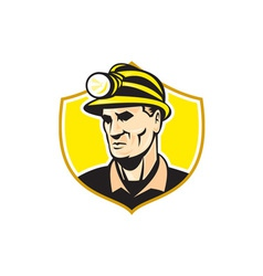 Miner With Hardhat Helmet Shield Retro vector image vector image