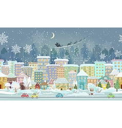 panorama seamless border with a winter cityscape vector image