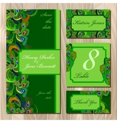 Peacock Feathers Wedding card set Printable vector image vector image