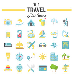 travel flat icon set tourism symbols collection vector image