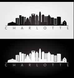 charlotte usa skyline and landmarks silhouette vector image vector image