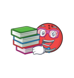 student bowling ball character cartoon with book vector image vector image
