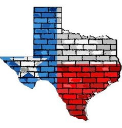 Texas map on a brick wall vector image