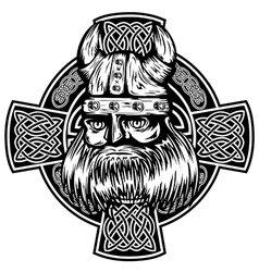 Viking and celtic cross vector