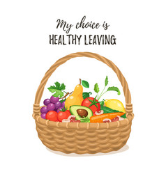 basket with fresh food vector image