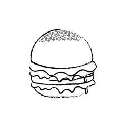 Figure delicious hamburger fast food meal vector