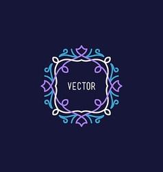 Line Art Floral Decoration Frame Design Template vector image vector image