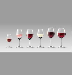 realistic full glasses set vector image
