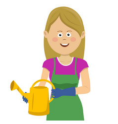 young gardening woman stands with watering can vector image vector image