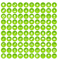 100 urban icons set green circle vector