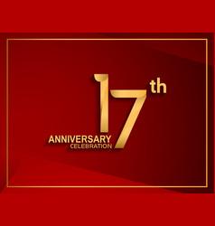 17 anniversary celebration logotype golden color vector