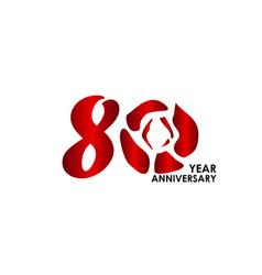 80 year anniversary flower template design vector