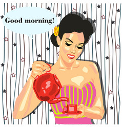 a girl with a teapot tea coffee cafe vector image