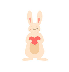 adorable rabbit standing holding big heart vector image