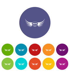 Aquila wing icons set color vector