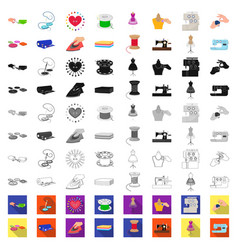 Atelier and equipment cartoon icons in set vector