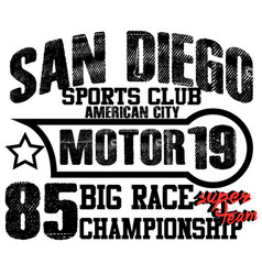 athletic sport america san diego typography vector image