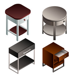 bedside table icon set isometric style vector image