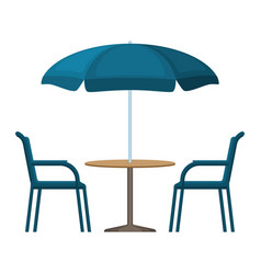 Bistro round table with open umbrella tent and two vector