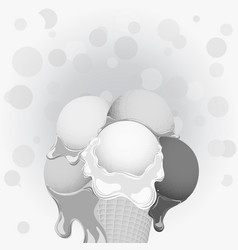 black-and-white poster - large wafer ice cream vector image