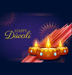 burning diya on happy diwali holiday background vector image