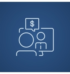 Business video negotiations line icon vector image