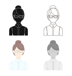 Business woman icon cartoon single avatarpeaople vector