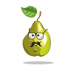 cartoon pear funny serious character in glasses vector image