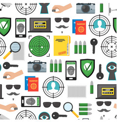 cartoon security and spy background pattern on a vector image