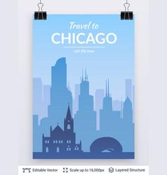 chicago famous city scape vector image